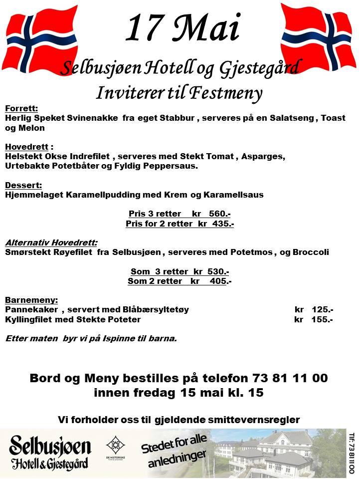 17 Mai på Selbusjøen Hotell og Gjestegård